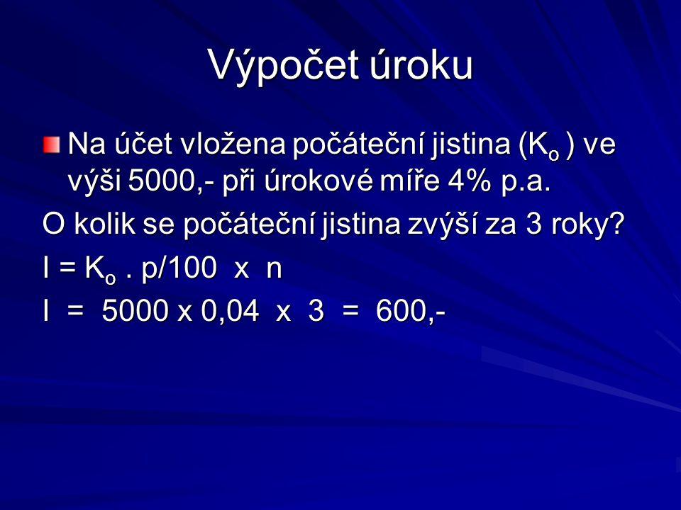 Výpočet úroku Na účet vložena počáteční jistina (K o ) ve výši 5000,- při úrokové míře 4% p.a.