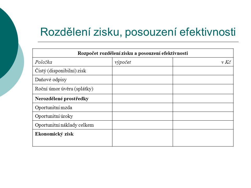 Rozdělení zisku, posouzení efektivnosti Rozpočet rozdělení zisku a posouzení efektivnosti Položkavýpočetv Kč Čistý (disponibilní) zisk Daňové odpisy R