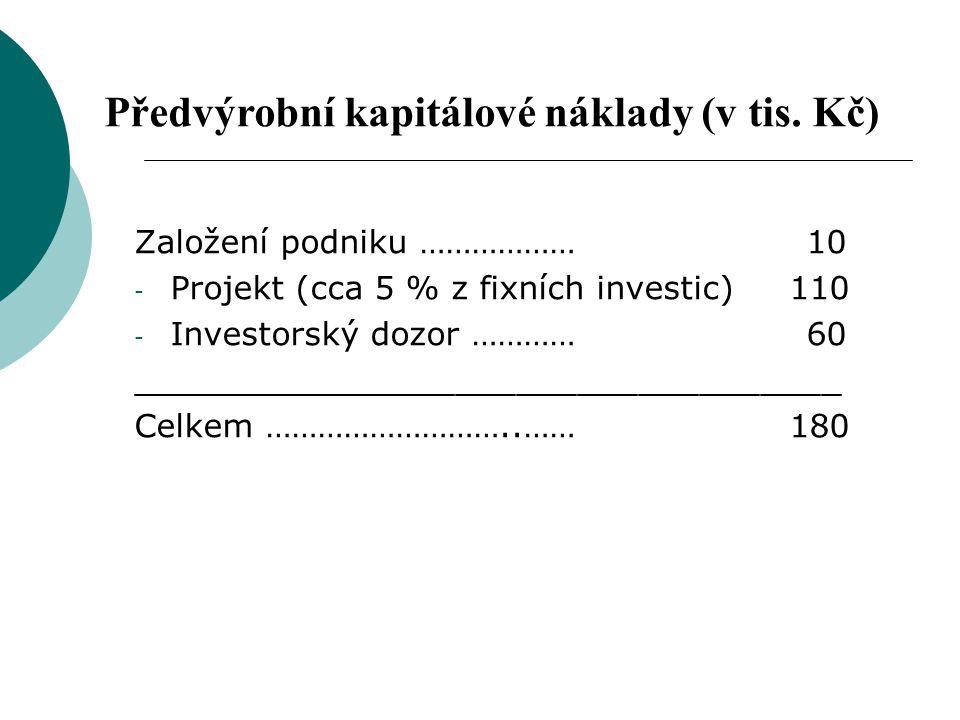 Založení podniku ……………… 10 - Projekt (cca 5 % z fixních investic) 110 - Investorský dozor ………… 60 ___________________________________ Celkem ………………………