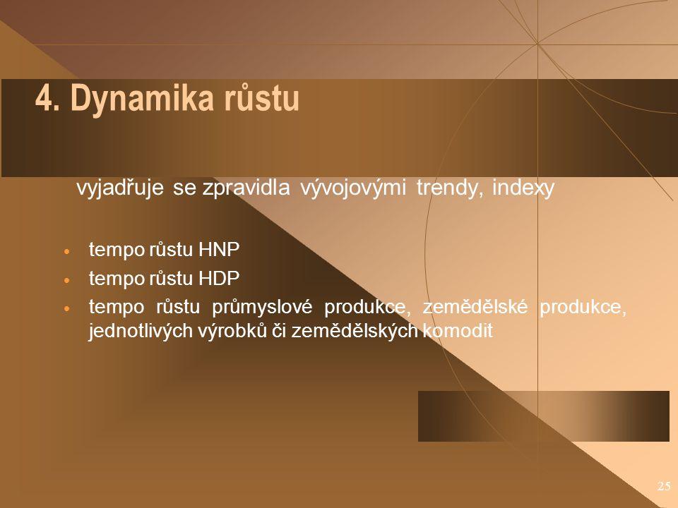 25 4. Dynamika růstu vyjadřuje se zpravidla vývojovými trendy, indexy  tempo růstu HNP  tempo růstu HDP  tempo růstu průmyslové produkce, zemědělsk