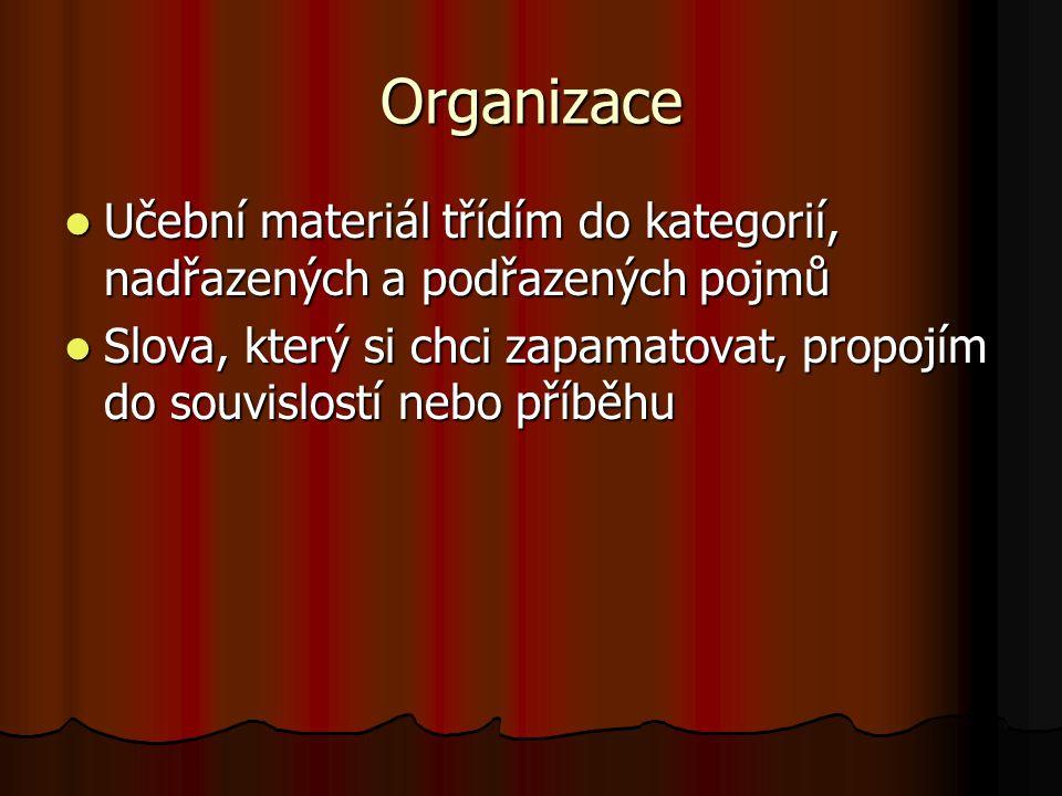 Organizace Učební materiál třídím do kategorií, nadřazených a podřazených pojmů Učební materiál třídím do kategorií, nadřazených a podřazených pojmů S