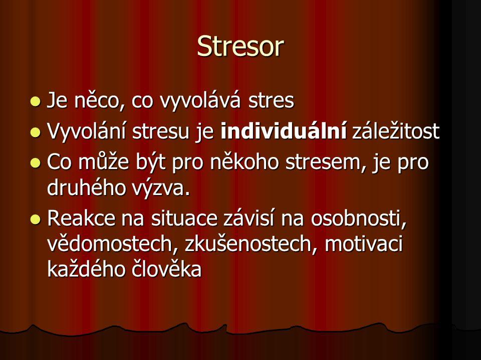 Stresor Je něco, co vyvolává stres Je něco, co vyvolává stres Vyvolání stresu je individuální záležitost Vyvolání stresu je individuální záležitost Co