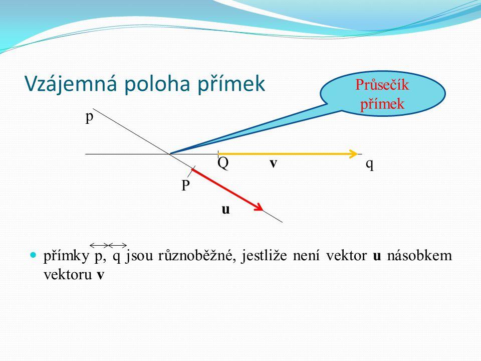 Vzájemná poloha přímek p Qvq P u přímky p, q jsou různoběžné, jestliže není vektor u násobkem vektoru v Průsečík přímek