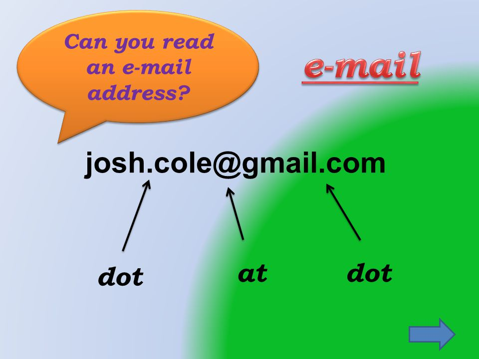 josh.cole@gmail.com dot atdot Can you read an e-mail address