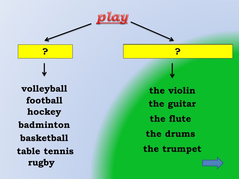 football badminton hockey the flute a musical instrument rugby the trumpet the drums the guitar the violin volleyball basketball table tennis sports