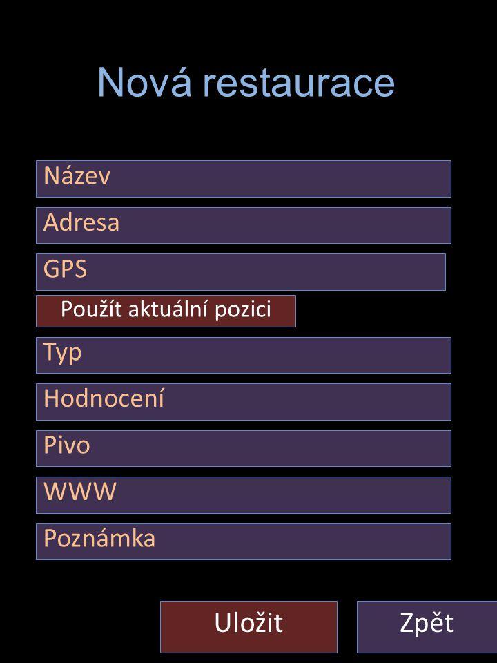 Nastaveni – Restaurace - Nova ZpětUložit Nová restaurace Adresa Typ Hodnocení Pivo WWW Název GPS Použít aktuální pozici Poznámka