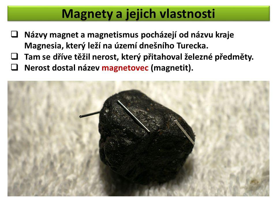 Magnety a jejich vlastnosti  Názvy magnet a magnetismus pocházejí od názvu kraje Magnesia, který leží na území dnešního Turecka.