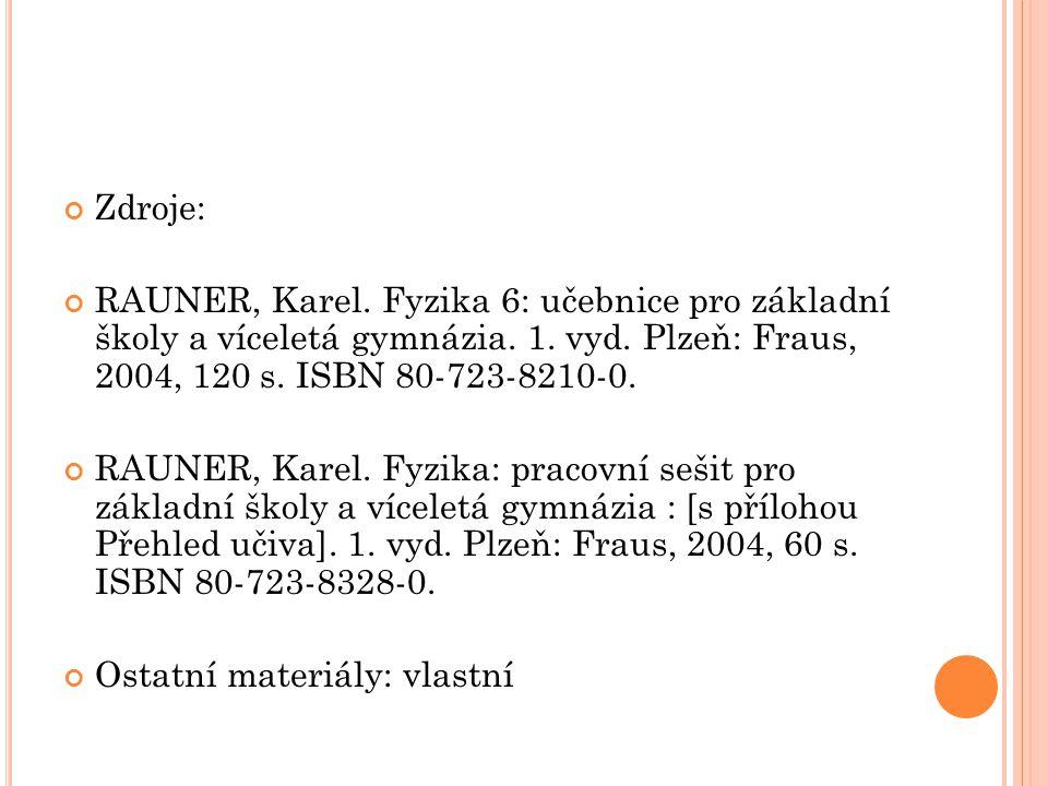 Zdroje: RAUNER, Karel. Fyzika 6: učebnice pro základní školy a víceletá gymnázia.