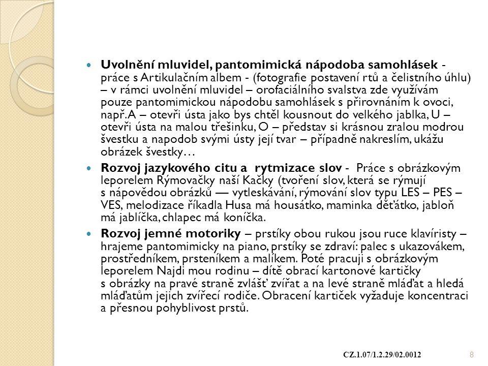 Uvolnění mluvidel, pantomimická nápodoba samohlásek - práce s Artikulačním albem - (fotografie postavení rtů a čelistního úhlu) – v rámci uvolnění mlu