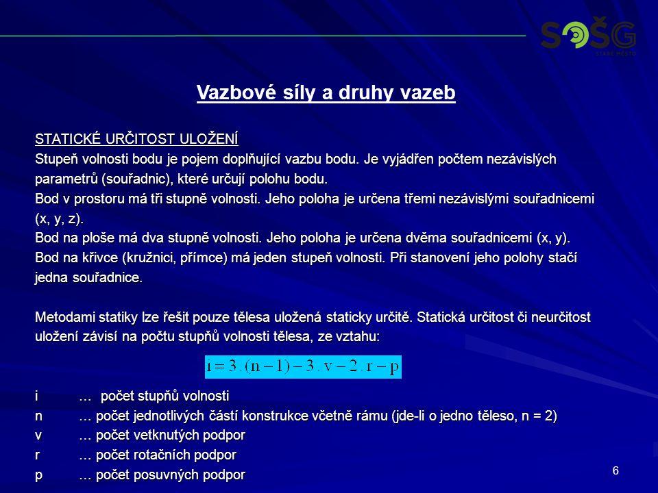 7 STATICKÉ URČITOST ULOŽENÍ 1.uložení staticky určité 2.