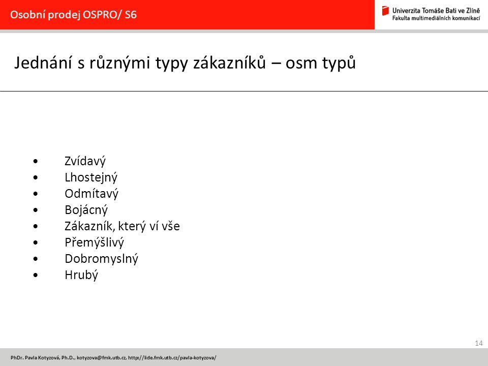 14 PhDr. Pavla Kotyzová, Ph.D., kotyzova@fmk.utb.cz, http://lide.fmk.utb.cz/pavla-kotyzova/ Jednání s různými typy zákazníků – osm typů Osobní prodej
