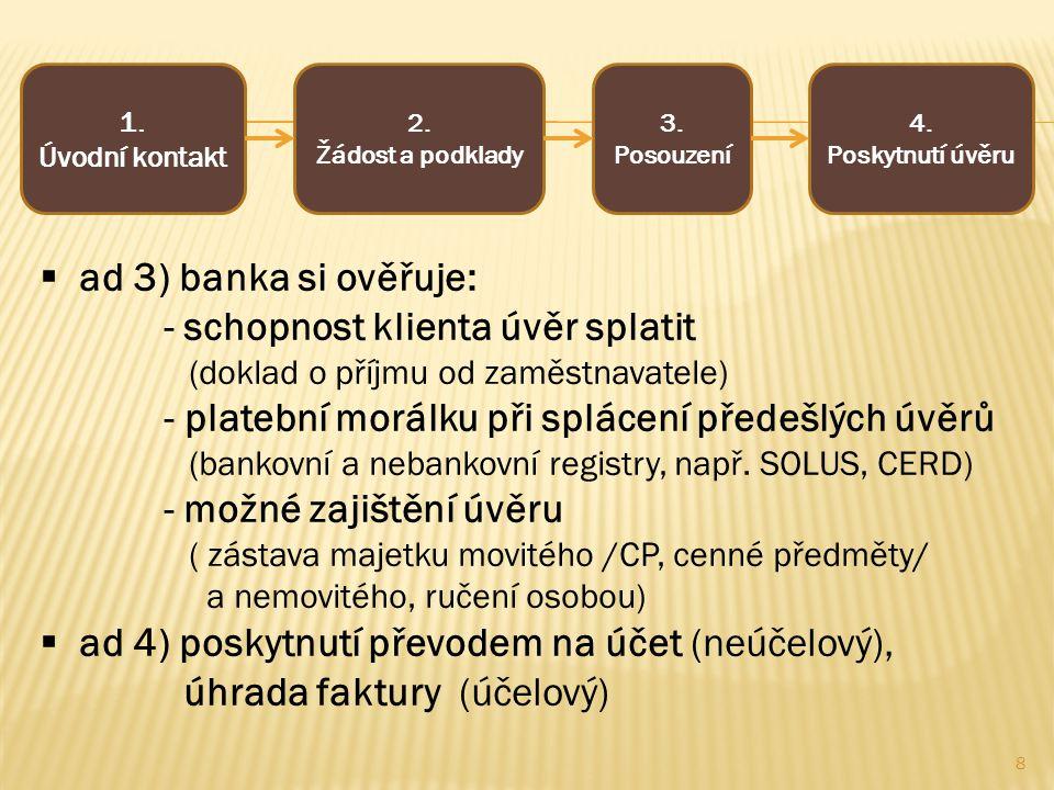 1. Úvodní kontakt 2. Žádost a podklady 3. Posouzení 4. Poskytnutí úvěru  ad 3) banka si ověřuje: - schopnost klienta úvěr splatit (doklad o příjmu od