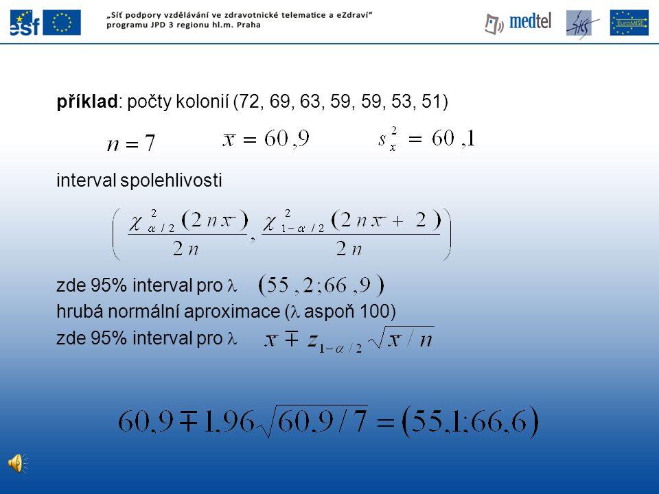 příklad: počty kolonií (72, 69, 63, 59, 59, 53, 51) interval spolehlivosti zde 95% interval pro hrubá normální aproximace ( aspoň 100) zde 95% interva