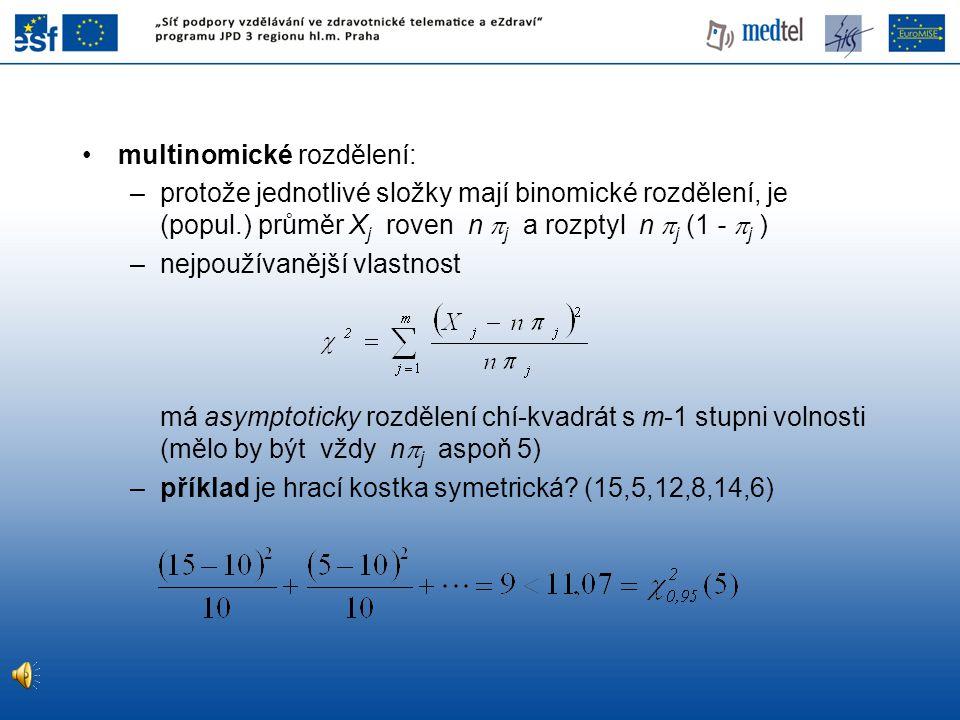 multinomické rozdělení: –protože jednotlivé složky mají binomické rozdělení, je (popul.) průměr X j roven n  j a rozptyl n  j (1 -  j ) –nejpoužíva