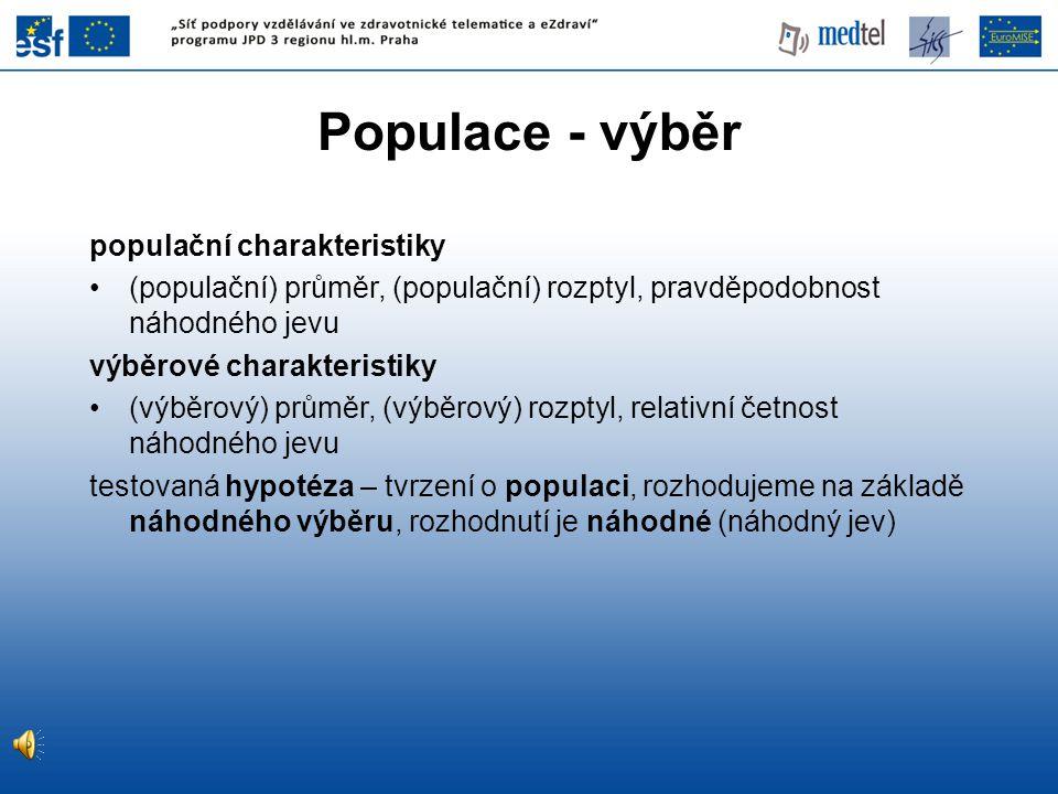 Populace - výběr populační charakteristiky (populační) průměr, (populační) rozptyl, pravděpodobnost náhodného jevu výběrové charakteristiky (výběrový)