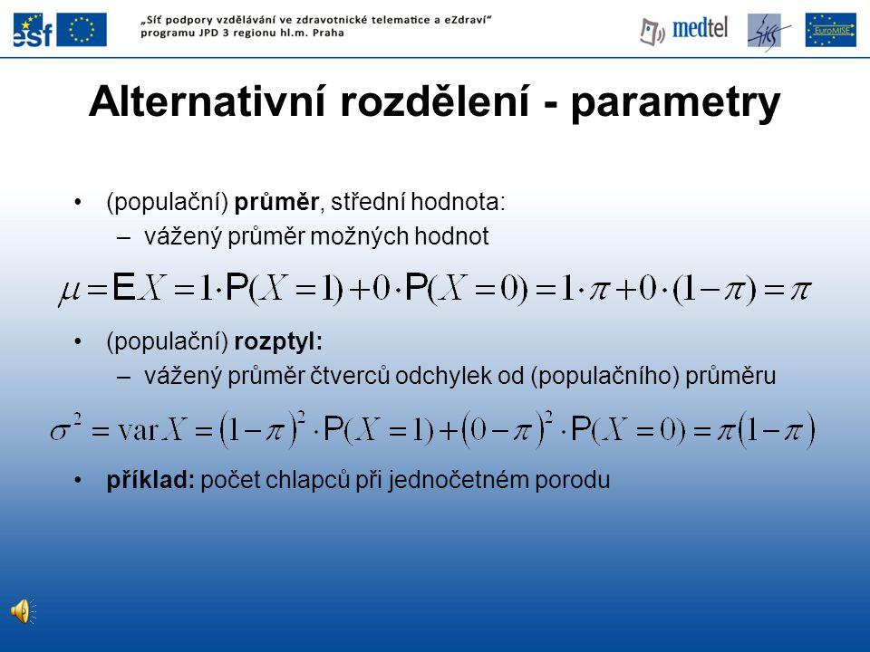 Alternativní rozdělení - parametry (populační) průměr, střední hodnota: –vážený průměr možných hodnot (populační) rozptyl: –vážený průměr čtverců odch