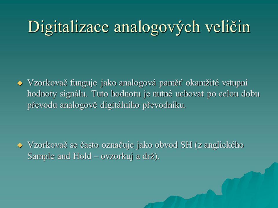 Digitalizace analogových veličin  Vzorkovač funguje jako analogová paměť okamžité vstupní hodnoty signálu.