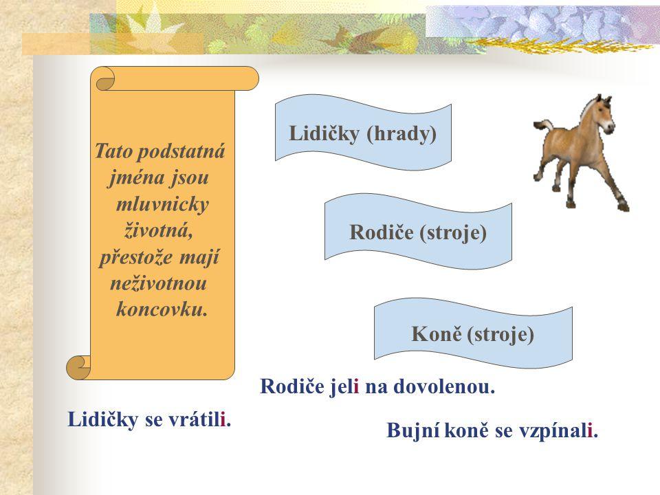 Lidičky (hrady) Koně (stroje) Rodiče (stroje) Tato podstatná jména jsou mluvnicky životná, přestože mají neživotnou koncovku.