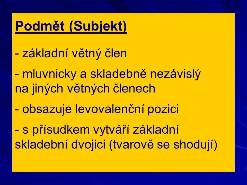 Podmět (Subjekt) - základní větný člen - mluvnicky a skladebně nezávislý na jiných větných členech - obsazuje levovalenční pozici - s přísudkem vytvář