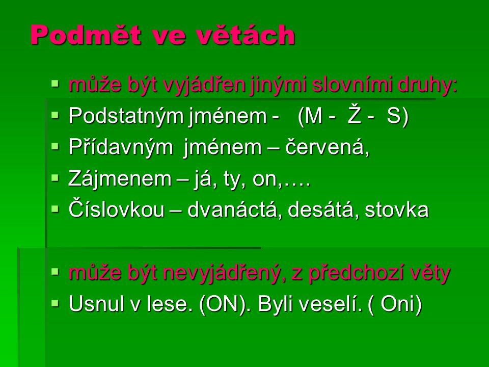 Podmět ve větách  může být vyjádřen jinými slovními druhy:  Podstatným jménem - (M - Ž - S)  Přídavným jménem – červená,  Zájmenem – já, ty, on,….