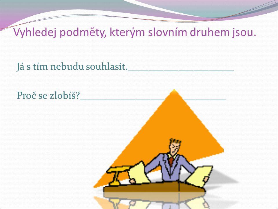 Vyhledej podměty, kterým slovním druhem jsou. Dovolená se nám vydařila.