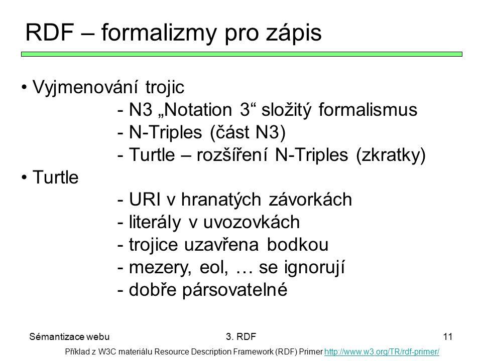 Sémantizace webu3. RDF11 Příklad z W3C materiálu Resource Description Framework (RDF) Primer http://www.w3.org/TR/rdf-primer/http://www.w3.org/TR/rdf-