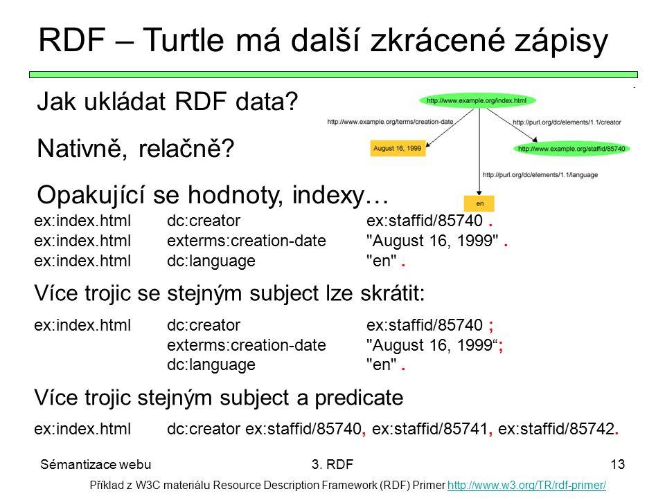 Sémantizace webu3. RDF13 Příklad z W3C materiálu Resource Description Framework (RDF) Primer http://www.w3.org/TR/rdf-primer/http://www.w3.org/TR/rdf-