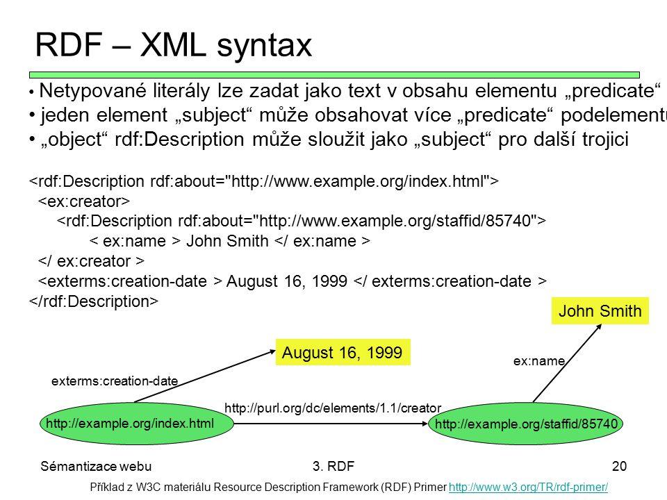Sémantizace webu3. RDF20 Příklad z W3C materiálu Resource Description Framework (RDF) Primer http://www.w3.org/TR/rdf-primer/http://www.w3.org/TR/rdf-