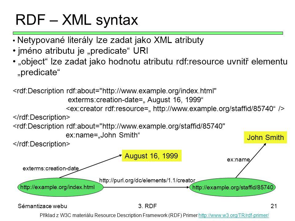 Sémantizace webu3. RDF21 Příklad z W3C materiálu Resource Description Framework (RDF) Primer http://www.w3.org/TR/rdf-primer/http://www.w3.org/TR/rdf-