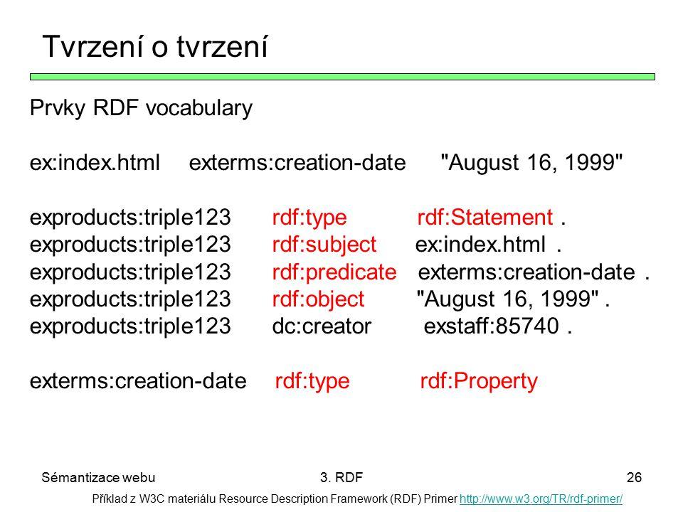 Sémantizace webu3. RDF26 Příklad z W3C materiálu Resource Description Framework (RDF) Primer http://www.w3.org/TR/rdf-primer/http://www.w3.org/TR/rdf-