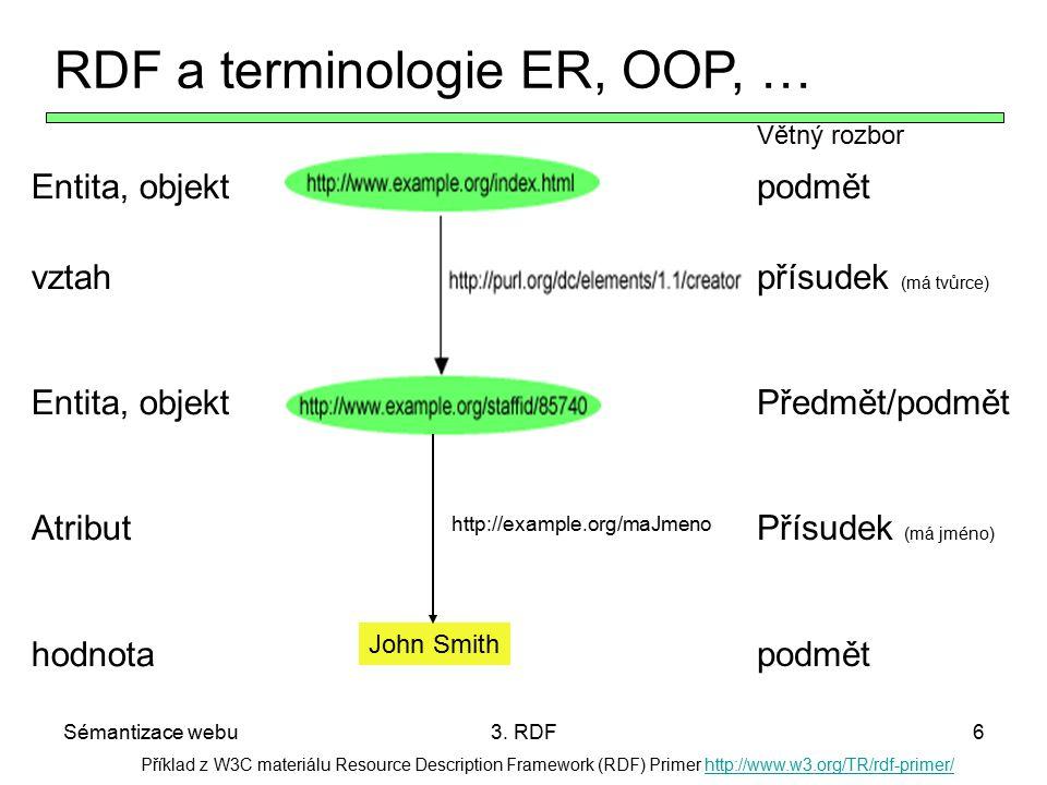Sémantizace webu3. RDF6 Příklad z W3C materiálu Resource Description Framework (RDF) Primer http://www.w3.org/TR/rdf-primer/http://www.w3.org/TR/rdf-p