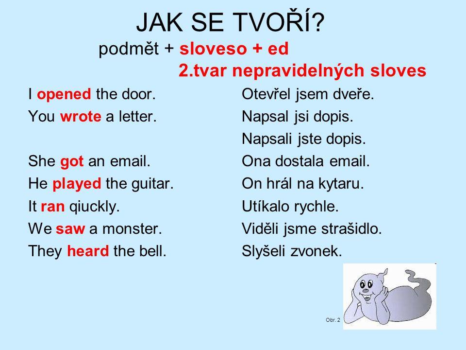 JAK SE TVOŘÍ. podmět + sloveso + ed 2.tvar nepravidelných sloves I opened the door.