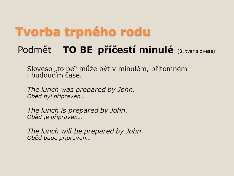 Zápor u trpného rodu Lunch wasn´t prepared by John.