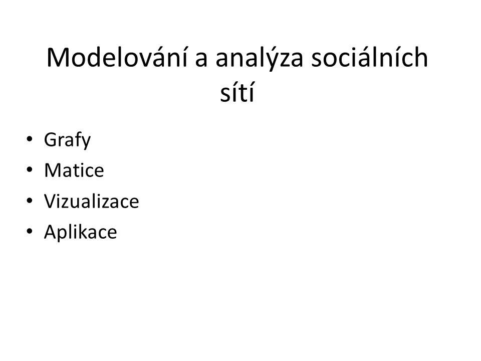 Modelování a analýza sociálních sítí Grafy Matice Vizualizace Aplikace