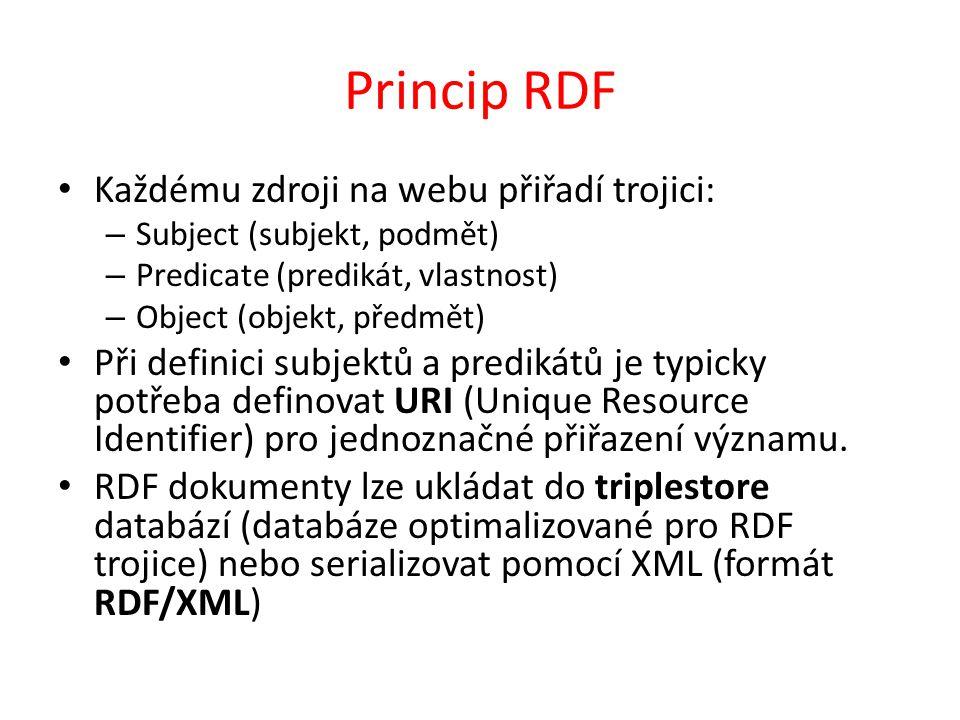 Princip RDF Každému zdroji na webu přiřadí trojici: – Subject (subjekt, podmět) – Predicate (predikát, vlastnost) – Object (objekt, předmět) Při defin