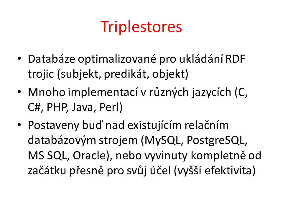 Triplestores Databáze optimalizované pro ukládání RDF trojic (subjekt, predikát, objekt) Mnoho implementací v různých jazycích (C, C#, PHP, Java, Perl