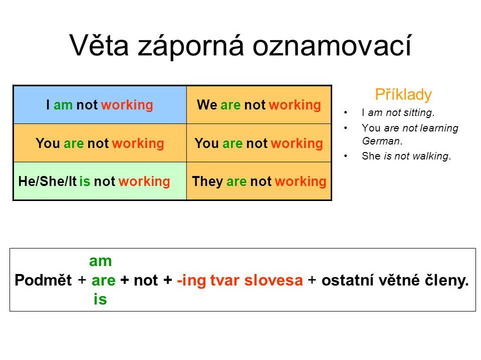 Stažené tvary záporné věty V hovorové angličtině je běžné používání stažených tvarů.