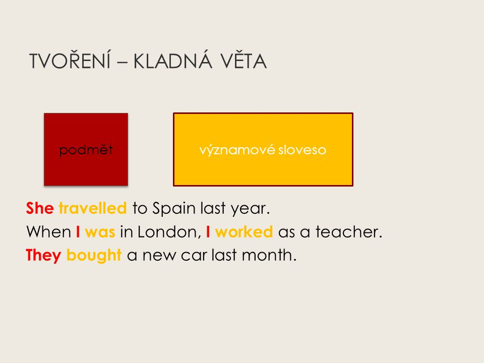 TVOŘENÍ – KLADNÁ VĚTA She travelled to Spain last year.