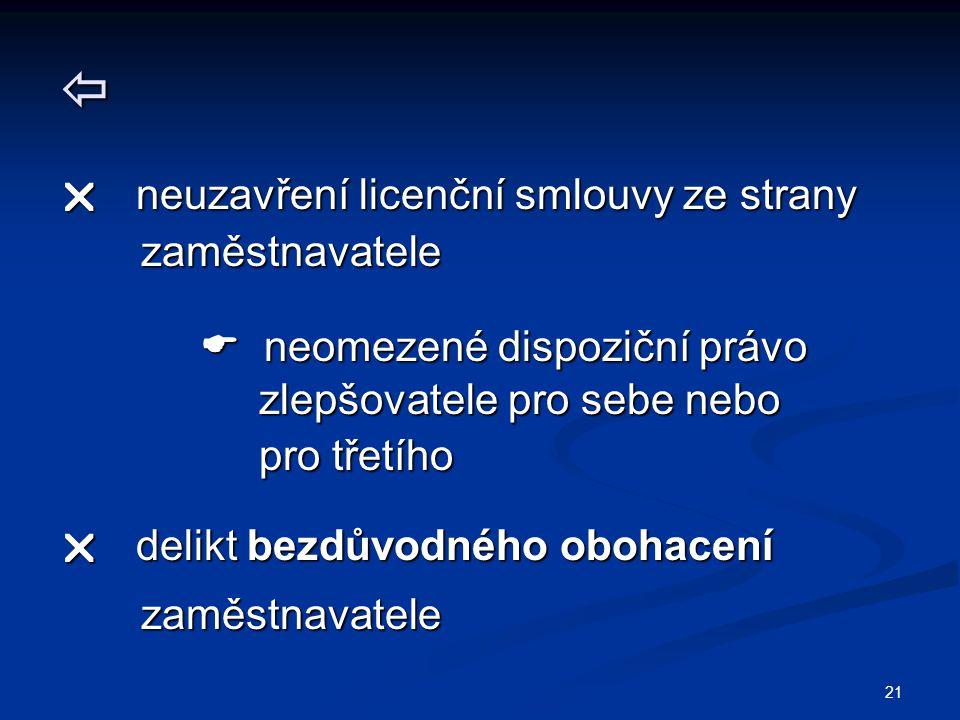 21   neuzavření licenční smlouvy ze strany zaměstnavatele zaměstnavatele  neomezené dispoziční právo  neomezené dispoziční právo zlepšovatele pro