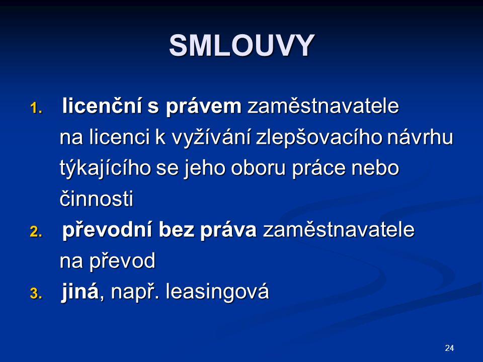 24 SMLOUVY 1. licenční s právem zaměstnavatele na licenci k vyžívání zlepšovacího návrhu na licenci k vyžívání zlepšovacího návrhu týkajícího se jeho