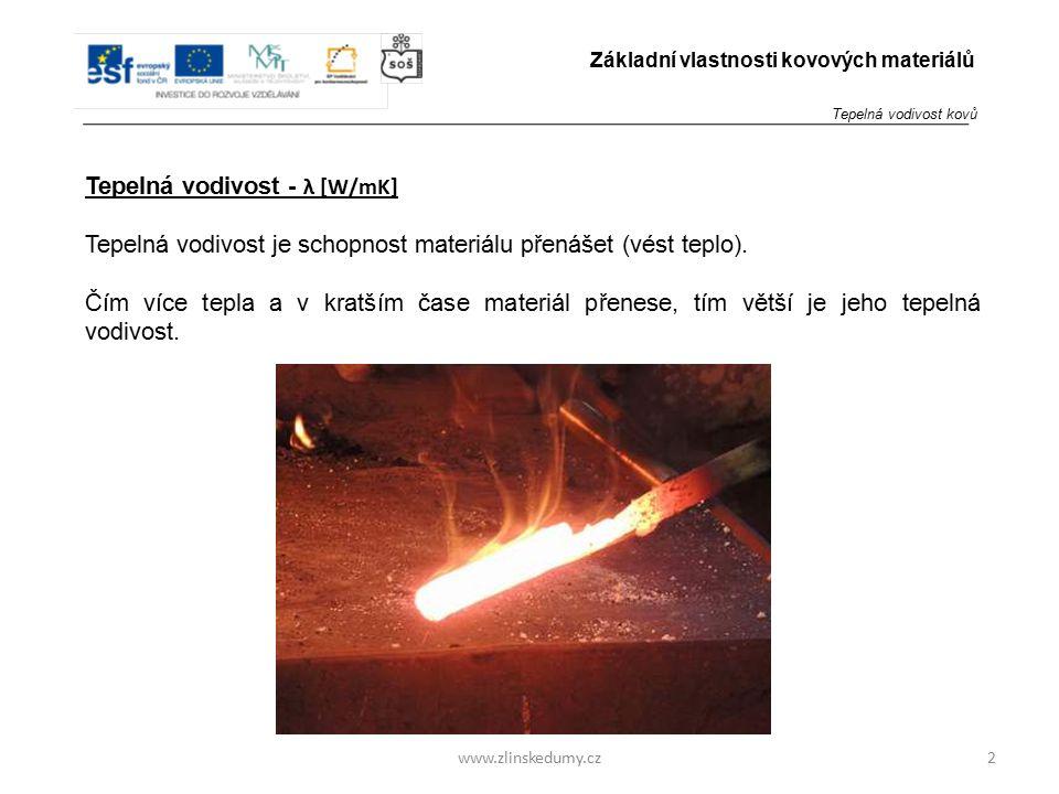 www.zlinskedumy.cz Tepelná vodivost - λ [W/mK] Tepelná vodivost je schopnost materiálu přenášet (vést teplo). Čím více tepla a v kratším čase materiál