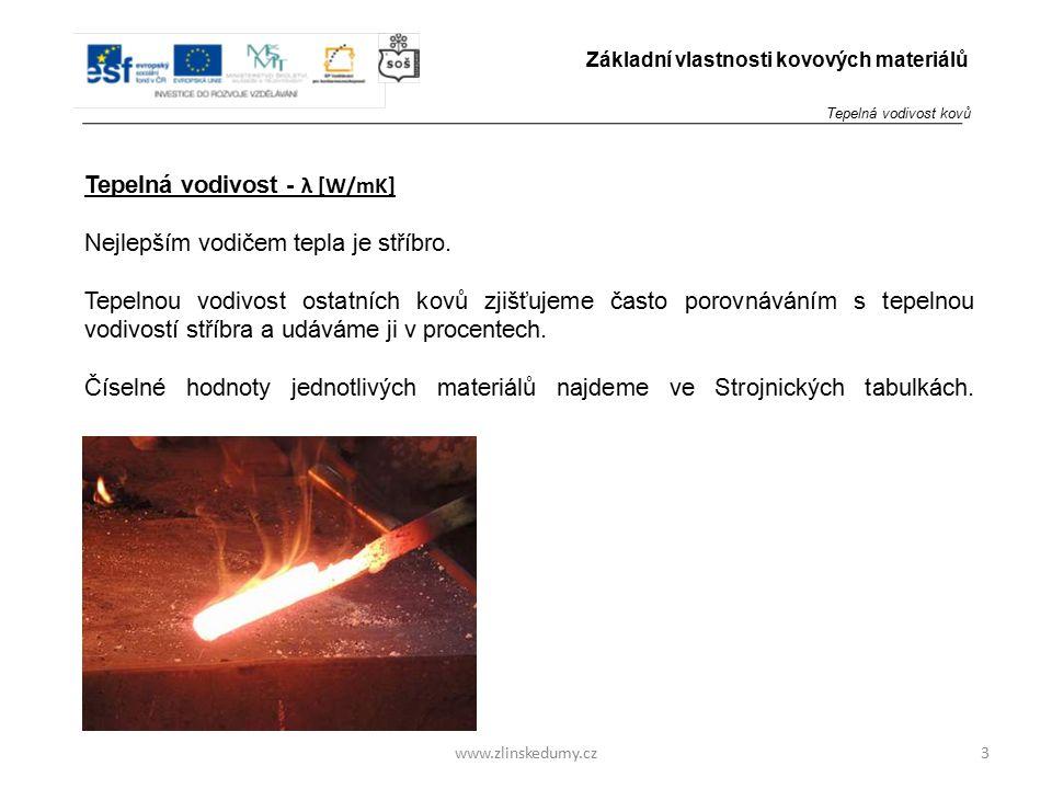www.zlinskedumy.cz Tepelná vodivost - λ [W/mK] Nejlepším vodičem tepla je stříbro. Tepelnou vodivost ostatních kovů zjišťujeme často porovnáváním s te