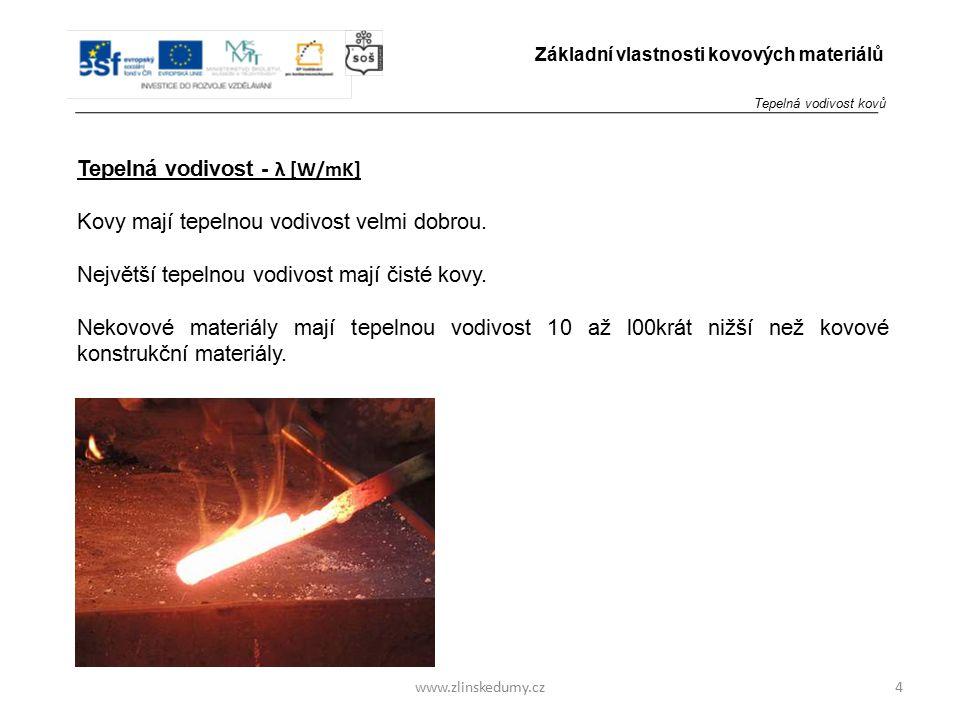 www.zlinskedumy.cz Tepelná vodivost - λ [W/mK] Kovy mají tepelnou vodivost velmi dobrou. Největší tepelnou vodivost mají čisté kovy. Nekovové materiál
