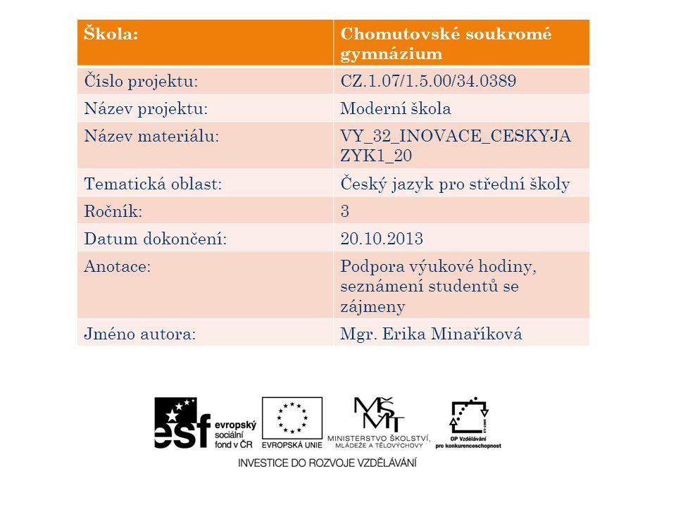 Škola:Chomutovské soukromé gymnázium Číslo projektu:CZ.1.07/1.5.00/34.0389 Název projektu:Moderní škola Název materiálu:VY_32_INOVACE_CESKYJA ZYK1_20