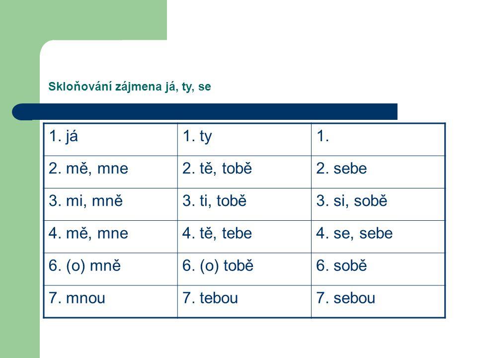 Skloňování zájmena já, ty, se 1. já1. ty1. 2. mě, mne2. tě, tobě2. sebe 3. mi, mně3. ti, tobě3. si, sobě 4. mě, mne4. tě, tebe4. se, sebe 6. (o) mně6.