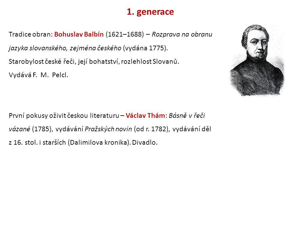 1. generace Tradice obran: Bohuslav Balbín (1621–1688) – Rozprava na obranu jazyka slovanského, zejména českého (vydána 1775). Starobylost české řeči,