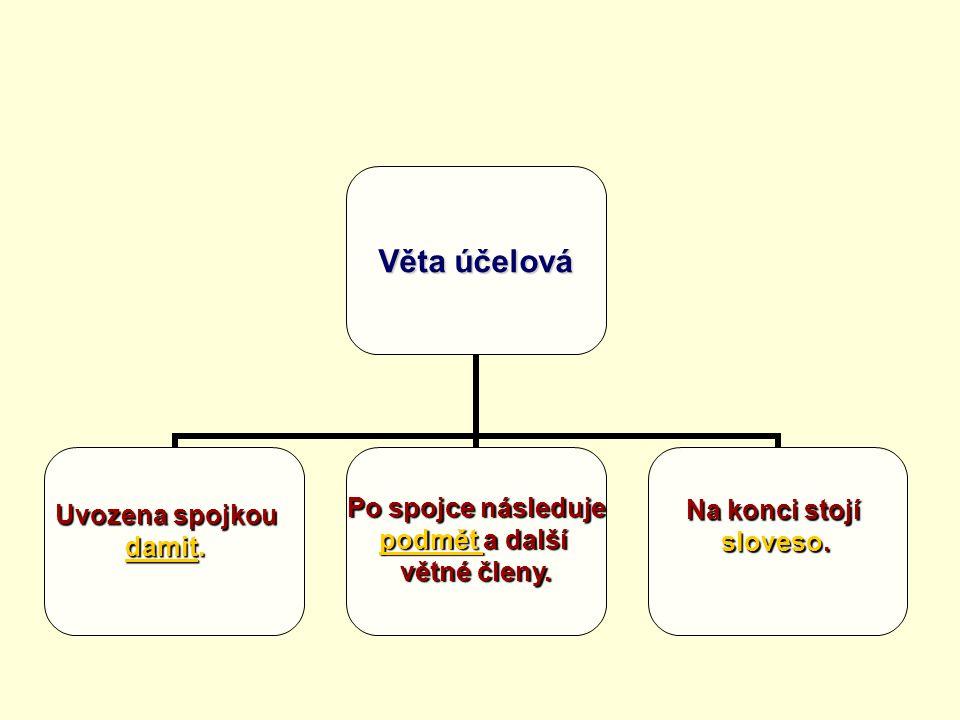Věta účelová Uvozena spojkou damit. Po spojce následuje podmět a další větné členy. Na konci stojí sloveso.