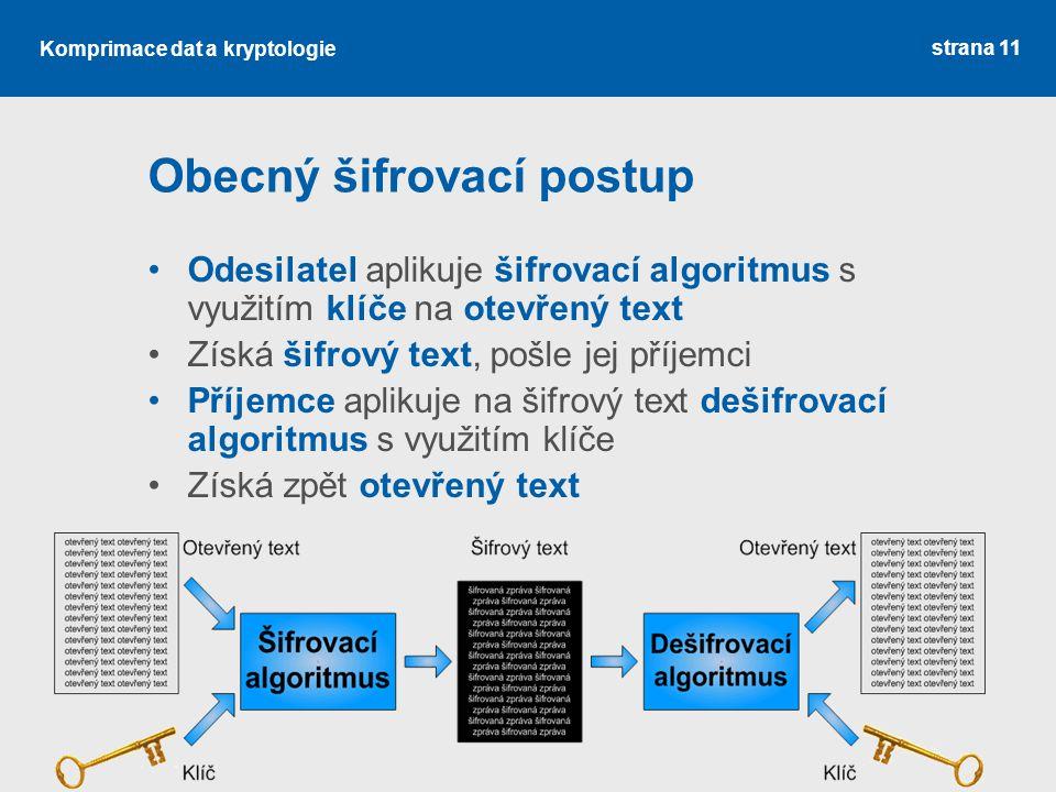 Komprimace dat a kryptologie Obecný šifrovací postup Odesilatel aplikuje šifrovací algoritmus s využitím klíče na otevřený text Získá šifrový text, pošle jej příjemci Příjemce aplikuje na šifrový text dešifrovací algoritmus s využitím klíče Získá zpět otevřený text strana 11