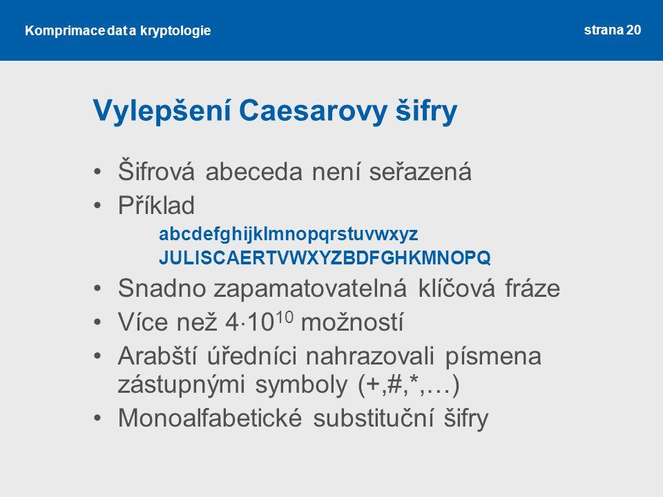 Komprimace dat a kryptologie Vylepšení Caesarovy šifry Šifrová abeceda není seřazená Příklad abcdefghijklmnopqrstuvwxyz JULISCAERTVWXYZBDFGHKMNOPQ Snadno zapamatovatelná klíčová fráze Více než 4  10 10 možností Arabští úředníci nahrazovali písmena zástupnými symboly (+,#,*,…) Monoalfabetické substituční šifry strana 20