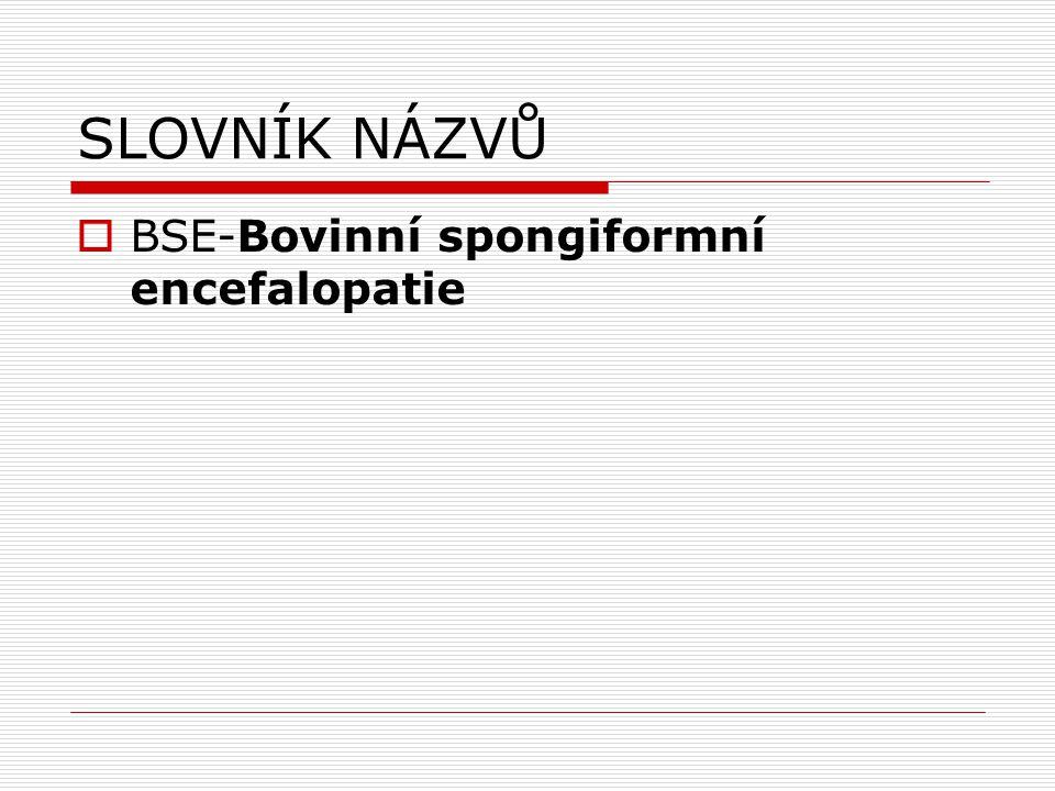 SLOVNÍK NÁZVŮ  BSE-Bovinní spongiformní encefalopatie